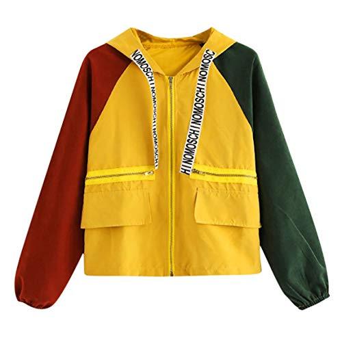 (Moonuy,Damen Long Sleeve Hoodies, Damen Cord Patchwork Oversize Zipper Jacke Windbreaker Crop Mantel Lässige Mantel für Party, Beach Damen Mädchen Sweatshirt (Orange, EU 40 / Asien XL))