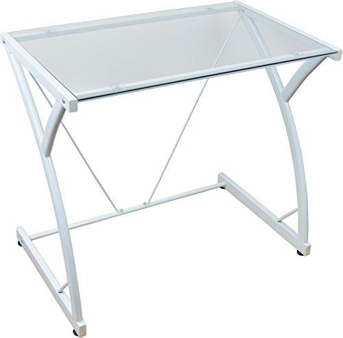 Schreibtisch für Laptop/Computer mit Glasplatte- Weiß