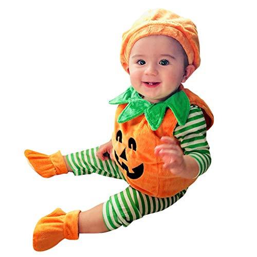 Kleinkind Ghost Jungen Kostüm Für - BaZhaHei Halloween Kostüm Kinder Baby Kleinkind Baby Kinder Mädchen Dämon Kürbis Halloween Strampler + Mütze + Schuhe Outfits Set