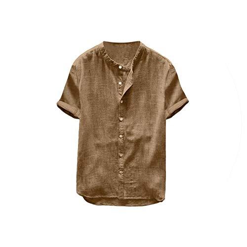 2019 Beiläufige Kurze Hülsen-Shirt Männer Baggy Cotton Linen Solid Color Retro Shirts Tops Bluse, Khaki, S -