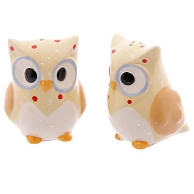 Ceramic Polka Dot Owl Salt & Pepper Set - Yellow
