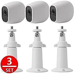 EEEKit 3pcs Sicherheit Metall Wandhalterung + 3pcs Silikon Fällen Schutzhülle, Einstellbare Indoor / Outdoor Halter für Arlo Pro Kamera (3-set White)