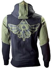 The Legend of Zelda Hooded Sweatshirt with Zip and Zelda Design Black / Green Size S–XXL
