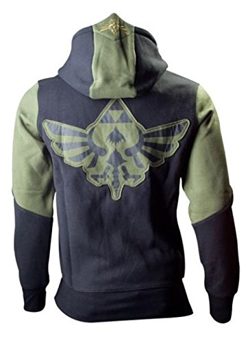 The Legend of Zelda Zipper Hoodie Kapuzenpullover: Character (Schwarz/Gruen) Groesse(X-Large)