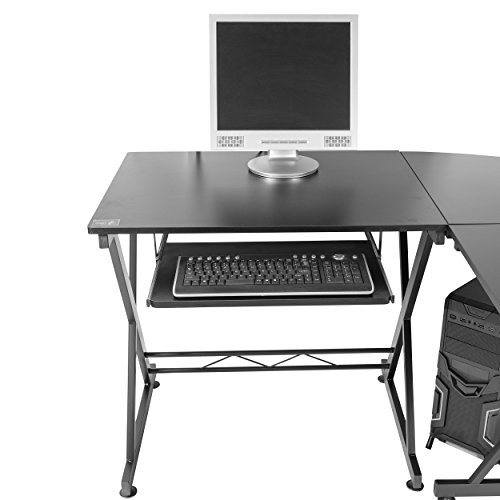 Image of Mari Home - Westfield Large Black Workstation Corner Computer Desk featuring Keyboard Shelf for Home / Office