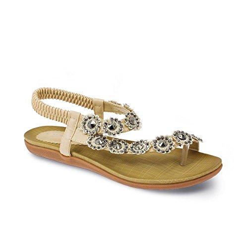 FANTASIA BOUTIQUE Femmes Diamant Sandales Fleur femmes Confortable Décontracte Été attaché Chaussures Beige