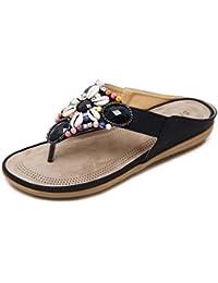 LIANGXIE Pantofole da Donna Summer Beach Shower Sandali Perline di Frangia  Low Help Flat Sandals ZHHZZ 89d93ad275a