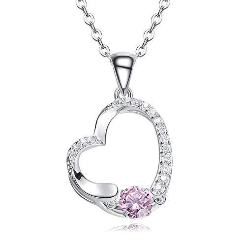 Lcdy catena clavicola a forma di cuore da donna casual ciondolo in argento sterling con pendente s925,pink