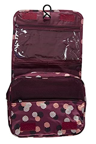 Women Men's Wash Bag Hanging Large Travel Case,Toiletries Kit,Makeup Pouch Bags (Wine Red Daisy)