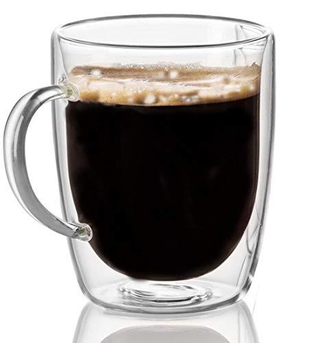 Cooko Doppelwandige Gläser,Kristall Kaffeeglas,Thermoglas Kaffeetasse,Hoher Borosilikat Becher 350ml für Tee,Latte,Milch,Cappuccino,Saft (1er Set)