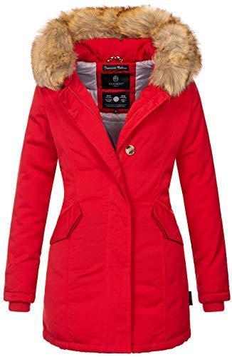 Marikoo Damen Winter Jacke Parka Mantel Winterjacke warm gefüttert B362 [B362-Karmaa-Rot-Gr.M] Damen Lange Winter Mäntel
