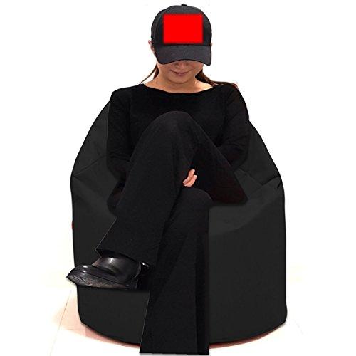Sitzsack Sitzbag Größe S-M-L-XL-XXL-XXXL mit Styropor Füllung - In & Outdoor - verschiedene Farben & Größen - Bean Bag Sitzkissen Bodenkissen Hocker Kinder Sitzsäcke Möbel Kissen Sessel Sofa (XL - ca.68cm, Schwarz)
