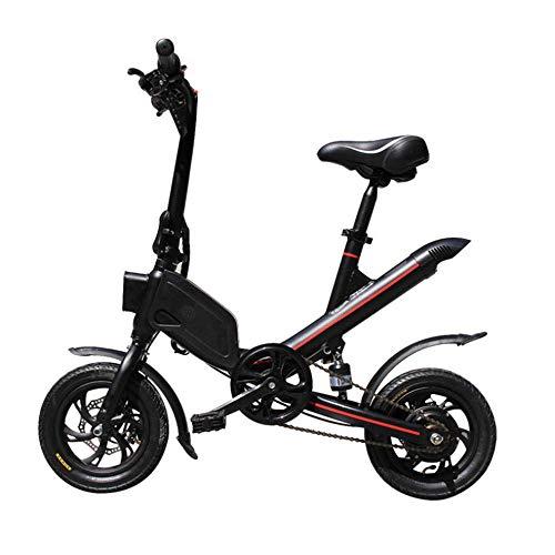 WJH9 Disc Folding Elektro-Bike, 12-Zoll-36V E- Bike mit 8Ah Lithium-Batterie Höchstgeschwindigkeit 25 km/h, tragbares einfach zu lagern Caravan, Wohnmobil,Schwarz
