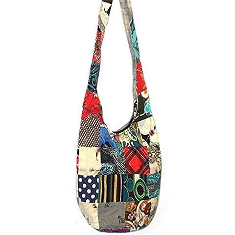 meizu88 Random Color Women Cotton Hippie Messenger Bag Large Zipper Shoulder Bag (Random)
