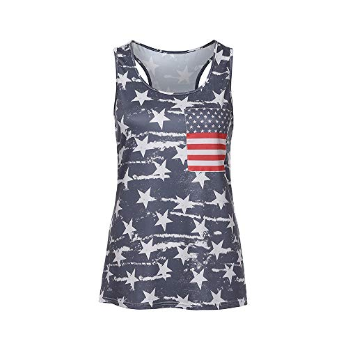 bf8a67c59 TOPKEAL T Shirts Ladies Sleeveless American Flag Printed Tank Vest Summer  Blouses Women Tops Tees Casual