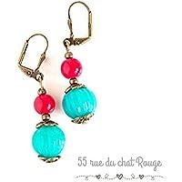 Alte Stil Ohrringe, Türkis und rote indische Perlen