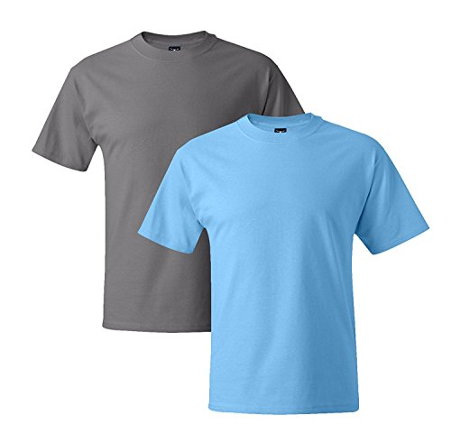 Hanes Mens 5180 Short Sleeve Beefy T 1 Aquatic Blue / 1 Graphite