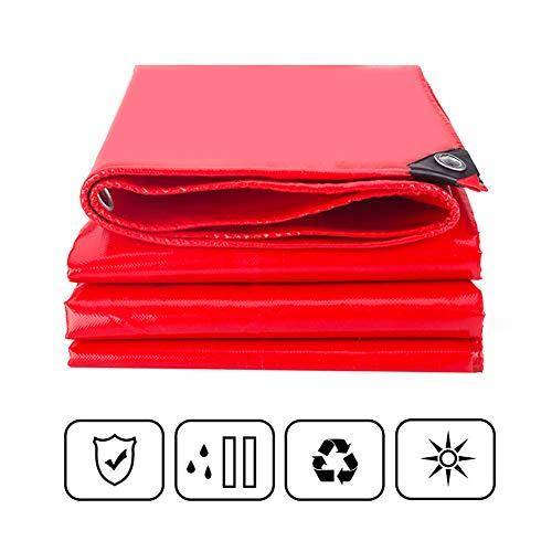 FRDF wasserdichte Plane, Verdickte, robuste, rote Sonnencreme für den Außenbereich, Abdeckplane für Camping, Auto und Garten, 550 g/m²,4x8m(13.1x26.2ft)