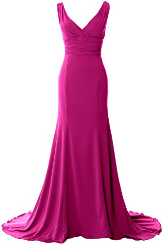 MACloth Elegant Mermaid V-Neck Simple Prom Dress Jersey Evening Formal Gown Fuchsia