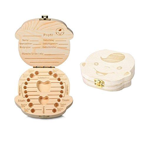 Holz Milchzähne Box [Deutsch Version], Aitsite Zahnbox Zahndose Milchzahndose Zahndöschen für Kinder (Junge)