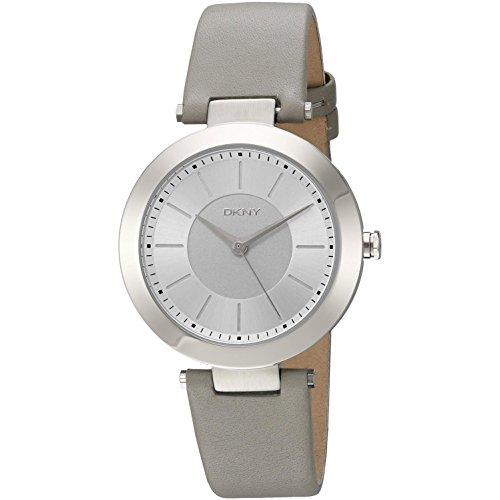 DKNY Damen-Armbanduhr 36mm Armband Leder Grau Gehäuse Edelstahl Quarz NY2460 (Dkny Uhren Leder Damen)