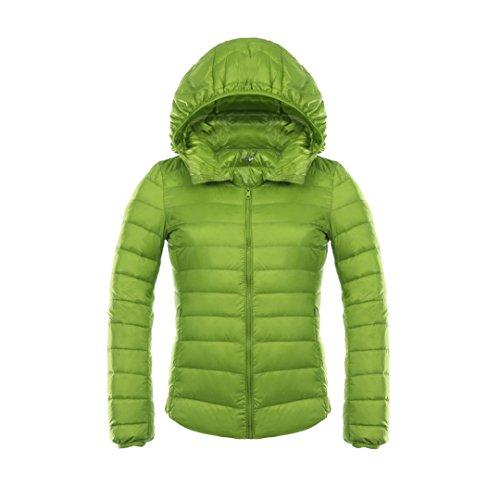 YY-Rui Damen Daunenjacke Leicht Übergangsjacke Steppjacke Jacke mit Kapuze Grün XL