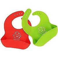Jump Baby® Set de 2 Baberos de Bebé, impermeables, supersuaves, silicona, color rojo/verde lima, limpieza fácil, enrollable