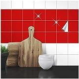 Wandkings Fliesenaufkleber - Wähle eine Farbe & Größe - Rot Glänzend - 10 x 10 cm - 100 Stück für Fliesen in Küche, Bad & mehr