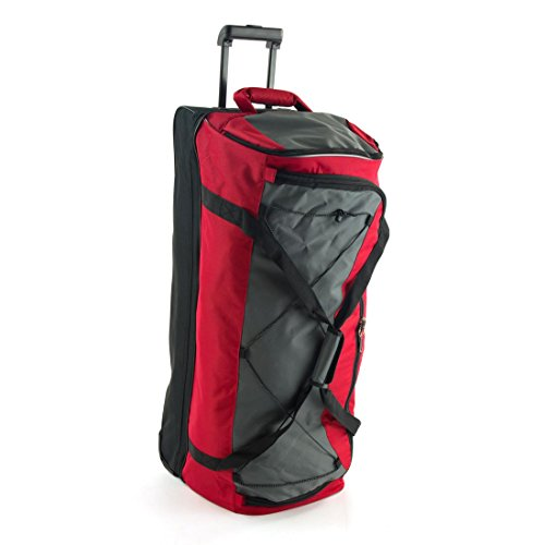 extra-large-36-inch-wheeled-travel-luggage-trolley-holdall-suitcase-duffle-bag-red