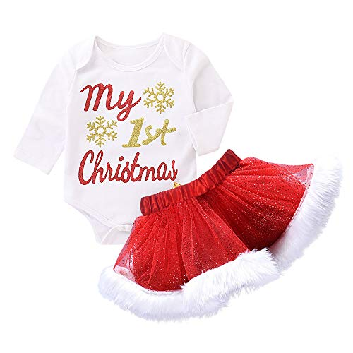 Schneemann Kostüm Tutu - Neugeborene Baby Mädchen Brief Weihnachten Xmas Romper Tutu Rock Outfits Set Strampler Set Neugeborene Baby Mädchen Jungen Outfits Kleidung