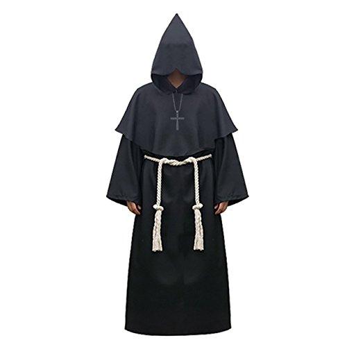 Priester Kostüm Hohe - ShiyiUP Priester Robe Herren Mönch Kostüm Jacke Kaputzen Mittelalter Cosplay für Halloween Karneval Party