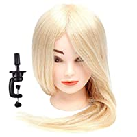 "18""-26"" Blond Training Hairdressing Head 100% Real Human Hair Cosmetology Practice Mannequin Manikin Head Doll 24""&150g"