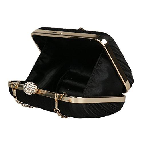 Damara® Elegant Damen Satin Strassstein Falten Abendtaschen Mit Quaste Gold