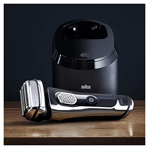 Braun Series 9 9296cc Premium Edition elektrischer Rasierer, mit Reinigungs- und Ladestation, Leder-Etui, chrom