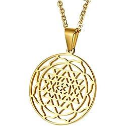 Vnox Acero Inoxidable Oro Sri Yantra Sri Chakra Sagrado Geometría Talismán Colgante Collar