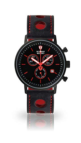 DETOMASO Milano Mens Watch Chronograph Analog Quartz Black Racing Leather Strap Black dial DT1052-M-835
