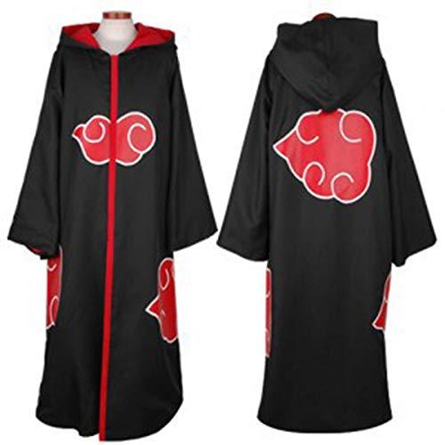 GYH Naruto Cosplay Kostüm Akatsuki Uchiha Itachi Ninja Mantel Lange Abschnitte Mäntel Umhang,XL