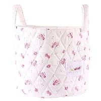 Minene Small Cream with Vinatge Flowers Fabric Storage Basket Organiser with Handles 18x22cm