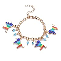 HENGSONG Colorful Unicorn Bracelet Wristband Alloy Bracelet for Kids Children Birthday Party Gifts