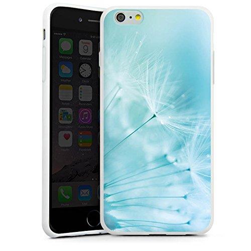 Apple iPhone 6 Tasche Hülle Flip Case Pusteblume Blau Blume Silikon Case weiß