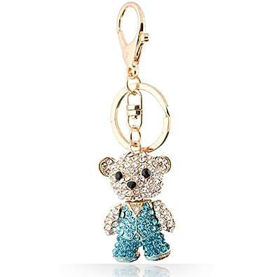 Really Cute Crystal Teddy Bear Key Ring or Bag Charm, Great Christmas Gift Idea!