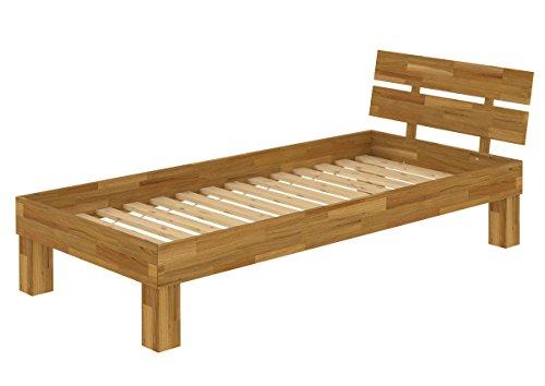 Erst-Holz® Futonbett Einzelbett 90x200 Bett Rollrost Massivholzbett Eiche Natur Jugendbett 60.88-09