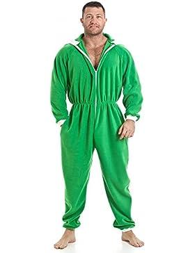 Camille - Pijama polar de una pieza de hombre - Con capucha y bolsillos - Talla S a 5XL