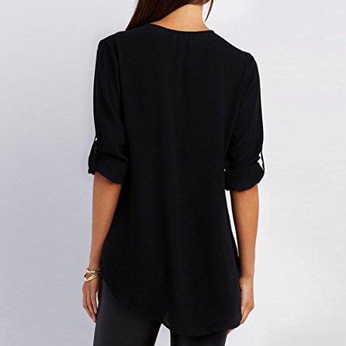 AmazingDays Chemisiers T-Shirts Tops Sweats Blouses,Femme Tops Casual T-Shirt en Vrac Chemisier Manches Longues Black