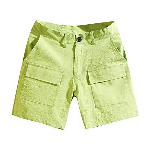 Sllowwa Herren Cargo Shorts Cargoshorts Kurze Hose Gürtel Sommer Mode Reine Farbe Overalls mit Mehreren Taschen Comfort Beach Short Pants (Stricken Short Gym)