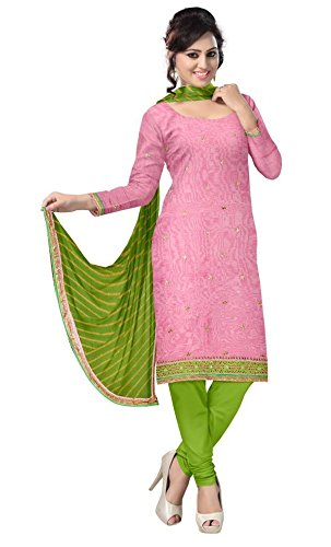 Lucky Sarees Women's Chanderi Cotton Unstitched Dress Material (187_Pink)