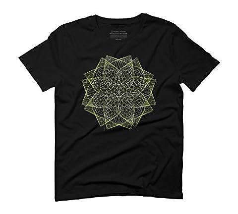 Geometric lotus flower mandala Men's 3X-Large Black Graphic T-Shirt -