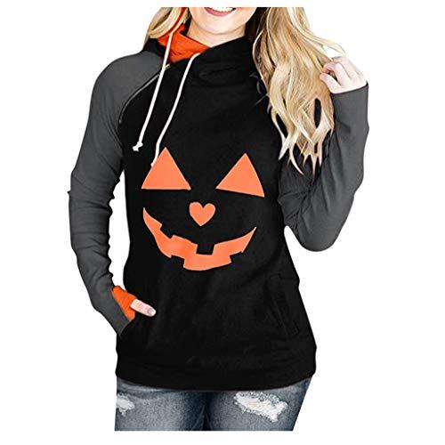 LOPILY Pullover Damen Halloween Hoodies Große Größen Kapuzenpullover mit Gruseliger Kürbis Halloweenkostüme Damen Sweatshirts mit Handdeckung Ausgefallene Halloween Pullover 48 46 (Orange, (Einfache Herren Kostüm)
