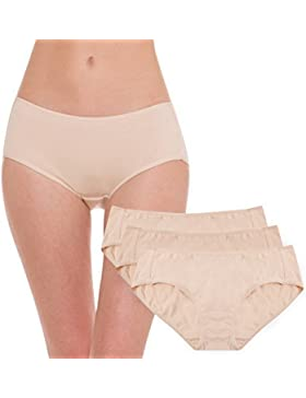 HESTA Mujer Algodón Orgánico Basic Braguitas Ropa Interior Pack de 3