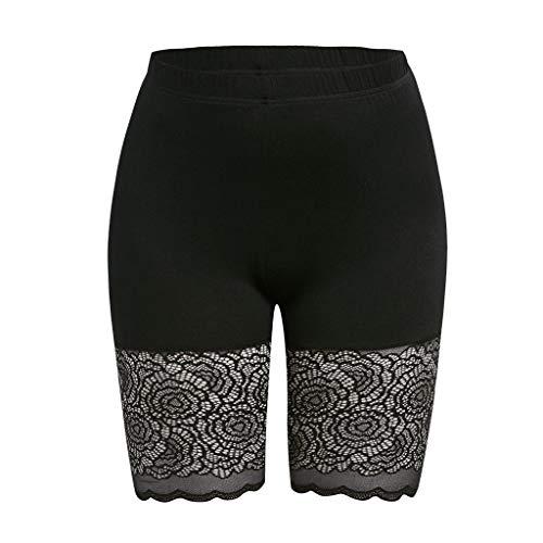 ABsoar Damen Mode Plus Größen Unterhose Skinny Kurz Leggings Einfarbig Lace Laufende Hosen Sommer Sptize Sporthose Sexy Sportlichen Hose (Damen-kurze Hosen-socken)